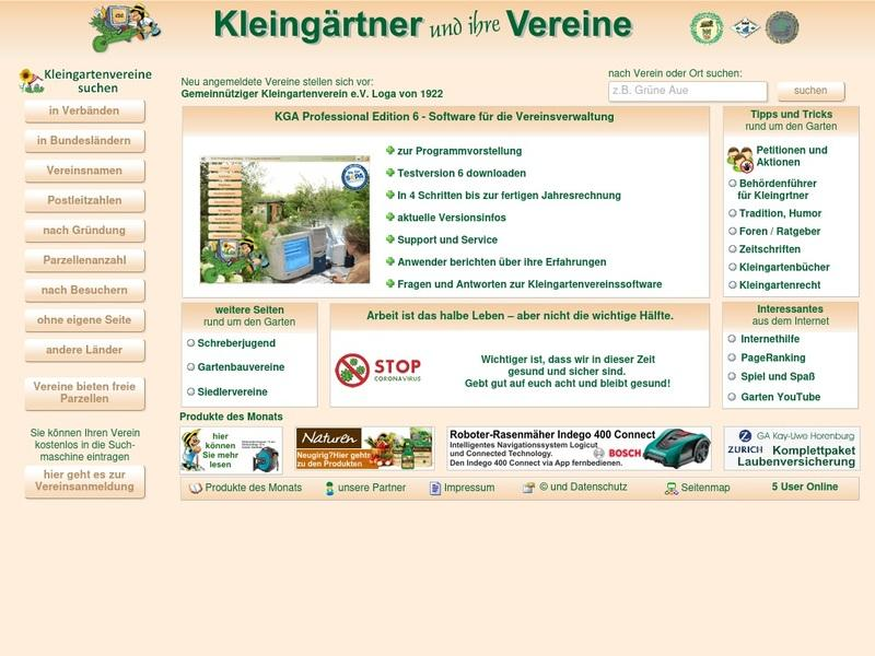 Screenshot von https://www.kleingartenvereine.de/
